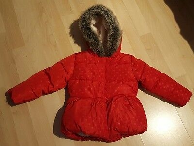 9-12 Months Baby Girls Red Puffa Style Coat With Fur Lined Hood Lovely & Warm