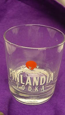 Finlandia vodka stright side glass 6 ounce cocktail Finland red dot reindeer