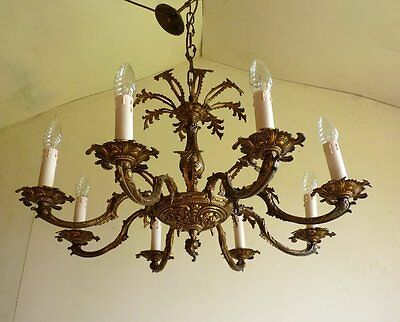 FABULOUS ANTIQUE VINTAGE 1940s 8 LAMP GILT BRASS FRENCH ROCOCO CHANDELIER LIGHT
