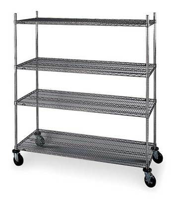 Wire Cart,24 In. W,60 In. L,Chrome METRO 4W657