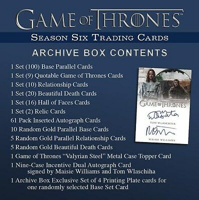 Game Of Thrones Season 6 Trading Cards Archive Box Blowout Cards