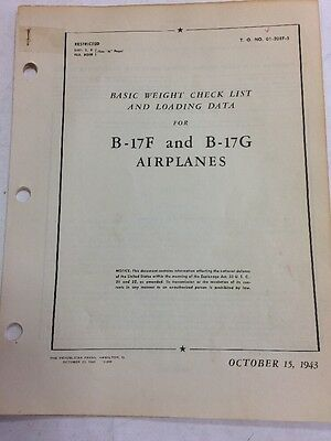 1943 B-17F & B-17G Original Basic Weight Check List And Loading Data