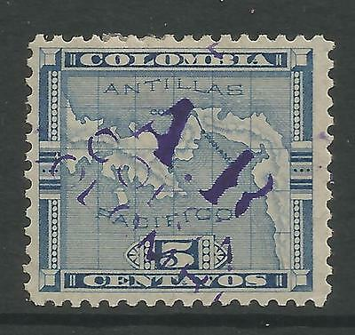 """PANAMA. SG: AR24. 1898. 5c Handstamped """"A.R. Colon Colombia. Hinged Mint."""