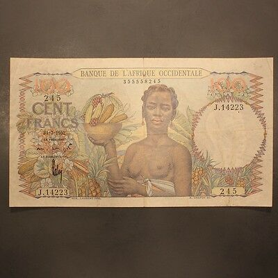 French West Africa 100 Francs 1952 P#40 Banknote VF+