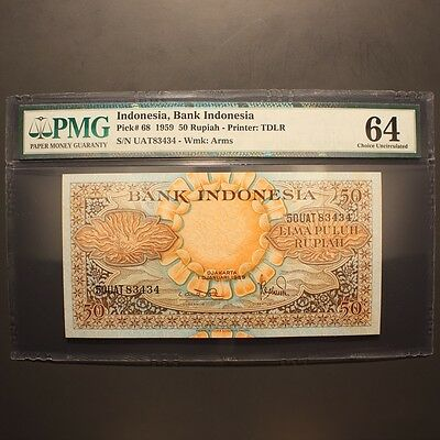 Indonesia 50 Rupiah 1959 P#68 PMG 64 - Choice Uncirculated