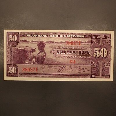 South Vietnam 50 Dong ND(1955) P#7a Banknote AU+
