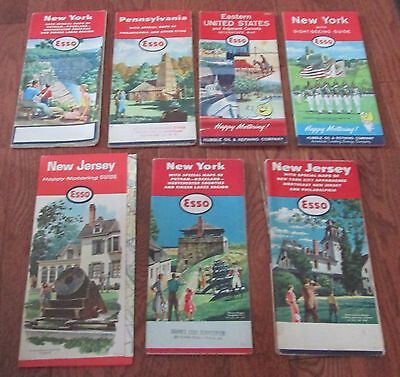 7 VINTAGE ESSO MAPS - 1956 to 1968