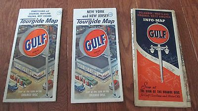 Vintage 3 Gulf Oil Road Maps 1938, 1960