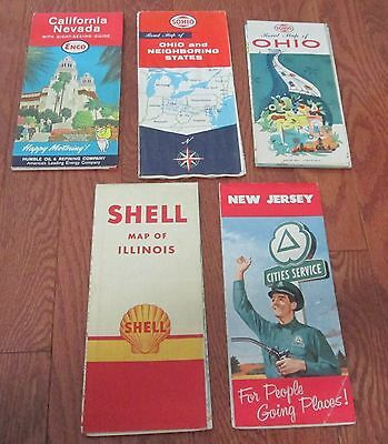5 VINTAGE USA ROAD MAPS 1950s
