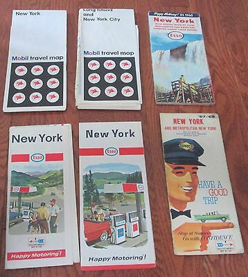 6  VINTAGE USA ROAD MAPS 1960s NEW YORK