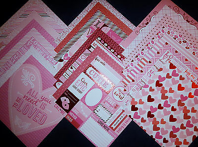 12X12 Scrapbook Paper Cardstock Valentines Day Hearts Love Be Mine Kisses 24 Lot