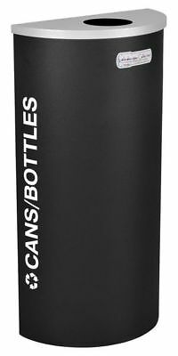 8 gal. Recycling Container Semi-Round, Black Steel & Plastic TOUGH GUY 5UJD5
