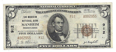 $5 The Manheim National Bank PA Ch# 912 Ser# 2955 Type 2 Lancaster County Small