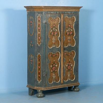 Antique 19th Century Hungarian Armoire with Original Blue Paint &Floral Detai