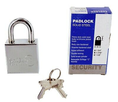 "Shield Security 1-3/4"" Heavy Duty Chrome Plated Hardened Solid Steel Key Padlock"