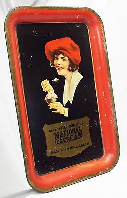 Antique NATIONAL ICE CREAM Lady in Red Hat Rectangular Advertising SERVING TRAY
