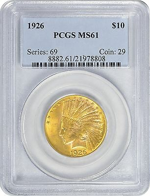 1926 $10 Ten Dollar Gold MS61 PCGS Indian Mint State 61