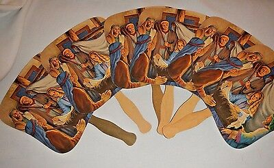 6 Vintage Church Hand Fans Birth of Jesus Advertising Menchey Music Hanover PA