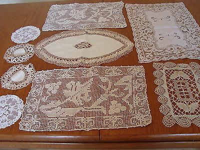 9 Beautiful vintage cream linen & old lace doilies, mats table,toppers, wedding
