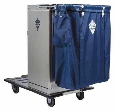 Housekeeping Cart,Silver,Stainless Steel TOUGH GUY 3U496