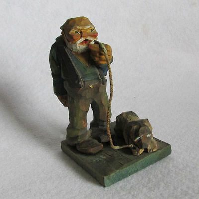 c1920-30s Folk Art Wood Carving of a Man with Dog, Original Paint