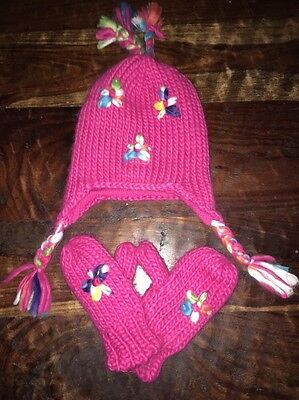 Toddler Girls Pink Flower Fall Winter Spring Hat And Glove Set