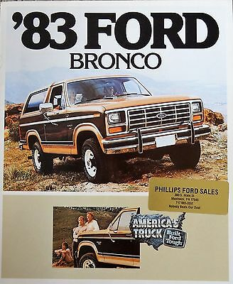 1983 Ford Bronco 4X4 SUV Truck Sales Brochure