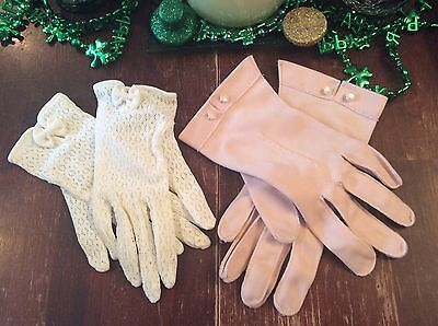 set of 3 pairs of vintage gloves, white lace, pink and long white gloves + pins