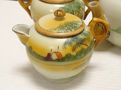 Antique 17 Pc Hand Painted Landscape Porcelain Tea Set Nippon Green  Mark Japan