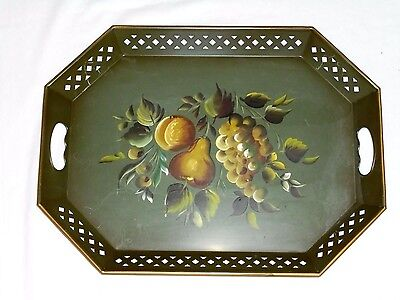 Antique Vintage Nashco Tole Painted Serving Tray Fruit On Green Metal15X20""