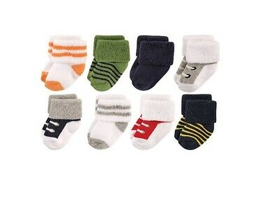 Luvable Friends Baby Boys 8 Pack Newborn Socks 0-6 Months Athletic New