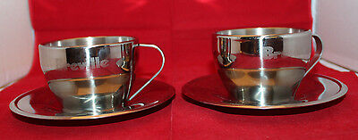 Breville Stainless Steel Cappuccino Coffee Mugs Cups Saucers Set of 2 Logo
