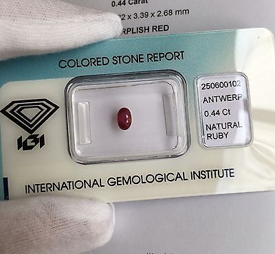 NATURAL Untreated Ruby 0.44ct Rare IGI CERTIFIED Unheated DEEP Red Oval Cut Gem