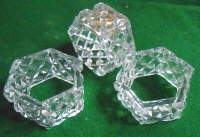 3 Vintage Hexagon Shaped Crystal Napkin Holders 4.5 Cm Wide, Lovely Condition