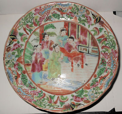 c1875 Chinese Export Rose Medallion Plate, Rare Border, Hand Painted, No Mark