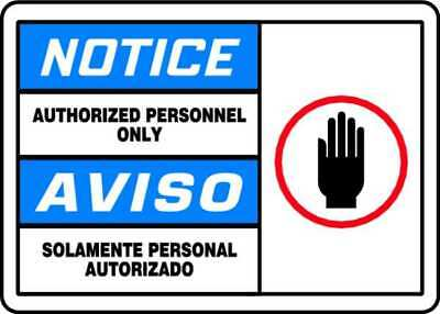 ACCUFORM SBMADM888MVP Notice Sign,10 x 14In,R, BL and BK/WHT
