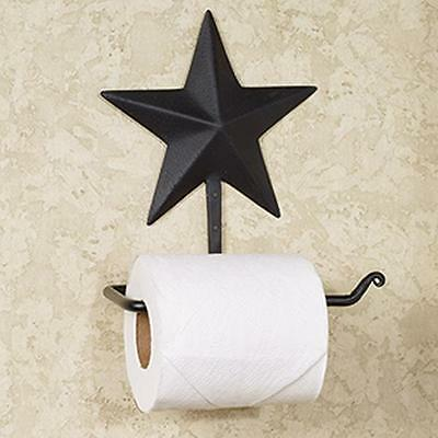 Country new black tin STAR wall toilet paper holder / nice