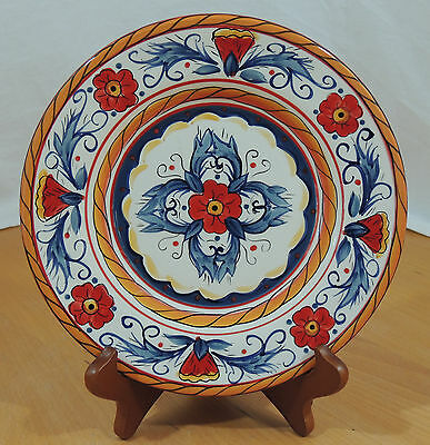 ITALIANO by Tabletops Gallery Red Blue Flower Scroll Salad Plate
