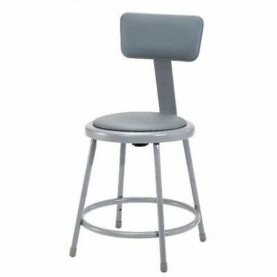 """National Public Seating Round Stool with Backrest, Height 18""""Gray, 6418B"""