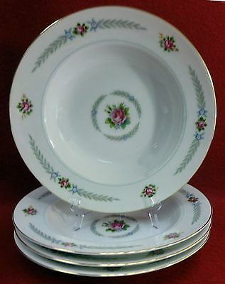 HOLLY china PEACOCK (Narumi Occupied Japan) Set of 4 Soup or Salad Bowls 8-3/8""