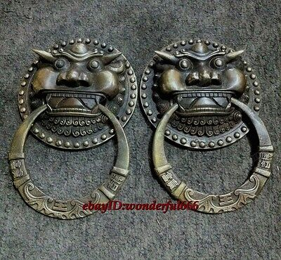 A Pair Classical Folk Rare Chinese old copper foo dog lion door knocker