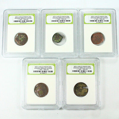 """5 Slabbed """"Pirate"""" Coins - Bronze American Spanish Cobs - 7777"""