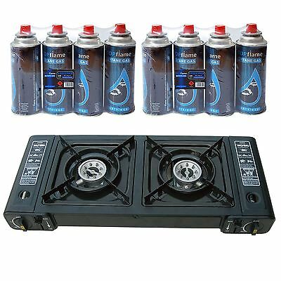 Portable Butane Double Twin Dual Burner Camping BBQ Gas Stove Cooker + 8 Refills