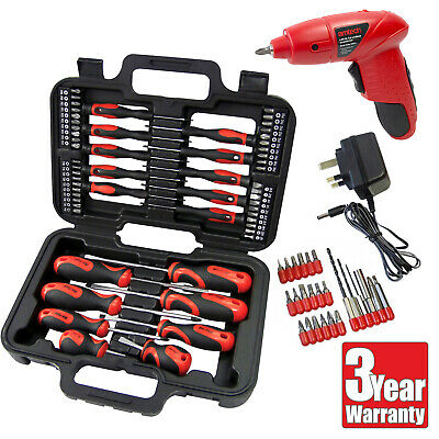 Amtech 84Pc 4.8V Cordless Rechargeable Driver + Screwdriver & Bits Set With Case
