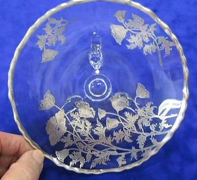 Silver Overlay 3 Footed Glass Medium size Bowl