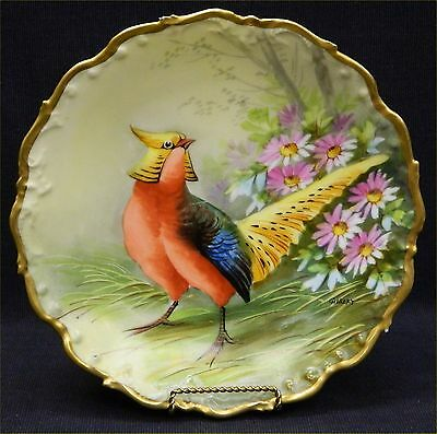 Antique Old Abbey Limoges France Hand Painted & Signed Pheasant Charge Plate
