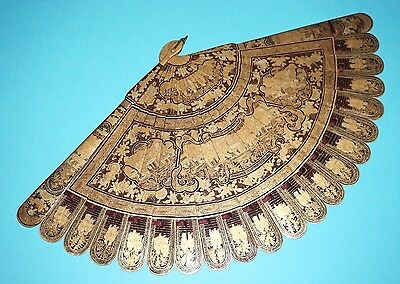 Gorgeous Antique Chinese Gold Lacquer Hand Painted Court Figural Scene Brise Fan