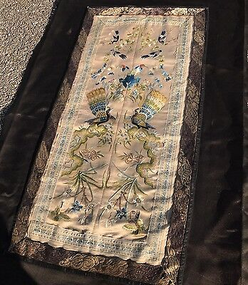 Beautiful Fine Antique Chinese Embroidered Silk Panel Embroidery Qing Dynasty
