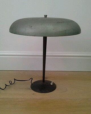 Vintage French Mid Century Flying Saucer Mushroom Desk Table Lamp