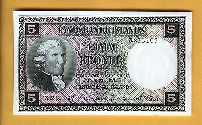 Price Reduced 3211197 Banknote Iceland 5 Krona Crisp Unc Free Shipping 1928